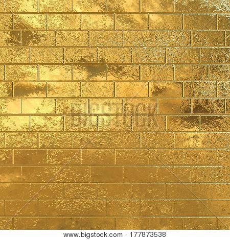 Golden brick wall, gold yellow 3D background