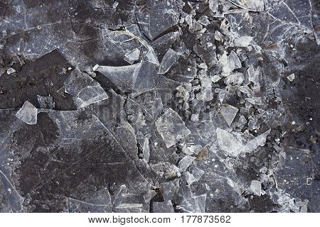 Cracked shards of ice on a dark puddlephotographed in close-up. Image a dark gray color. You can use for the background.