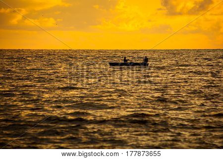 Boat On A Black Sea, Beautiful Sunset, Poti, Georgia
