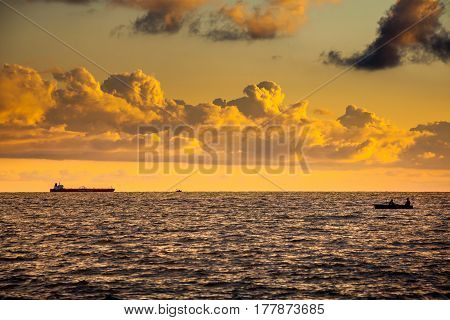 Seiner And Tanker On A Black Sea, Beautiful Sunset, Poti, Georgia