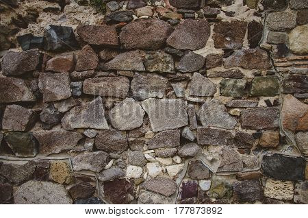 stone wall abstract background with brutal stones