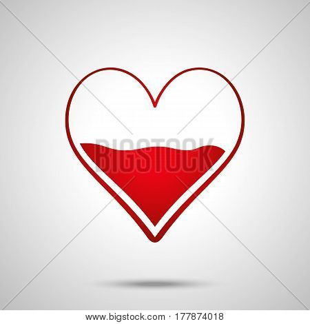 Heart Half Of Blood Vector Icon. Medicine Symbol. Valentine's Day Sign, Emblem Isolated On White Bac
