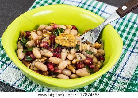 Lenten dish of beans on plate. Studio Photo