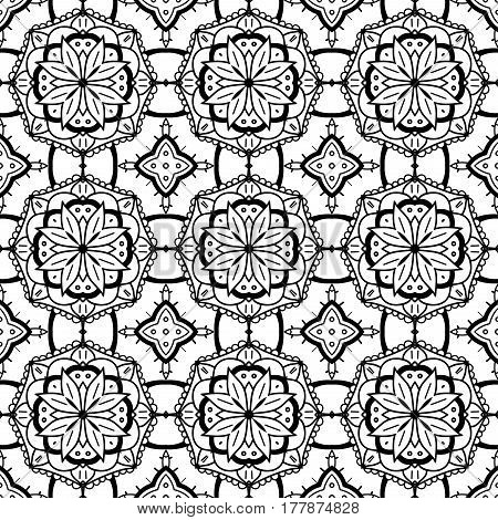 Seamless Abstract Hand Drawn Pattern. Square Background. Black White Wallpaper
