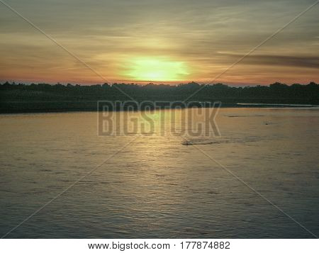 sunset on the banks of river luangwa in zambia