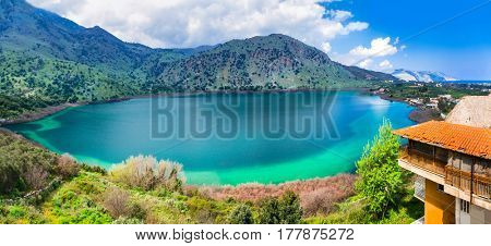 Crete island, Greece - beautiful lake Kournas near Rethymno.