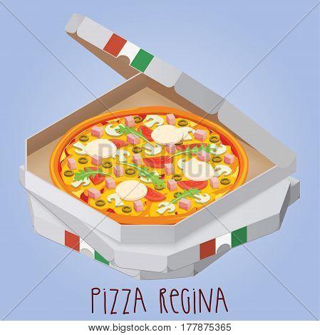 The real Pizza Regina. Pizza Queen. Italian pizza in box. Vector illustration.