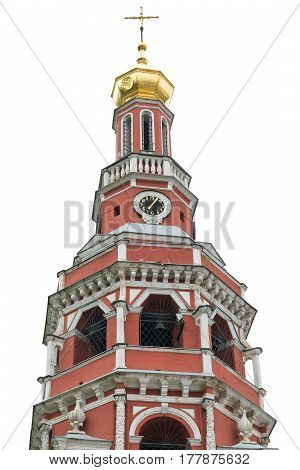 Chapel of the Orthodox Church of red brick isolated on white background. The concept of Orthodox Christianity.