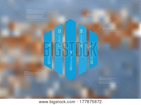Illustration infographic template with motif of hexagon vertically divided to five blue standalone sections. Blurred photo with texture motif of worn wooden board is used as background.
