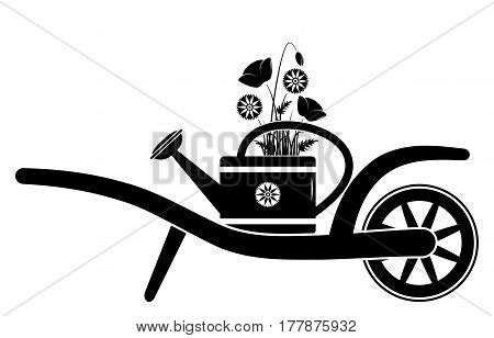 vector wheel barrow with corn poppies and cornflowers in watering can isolated on white background