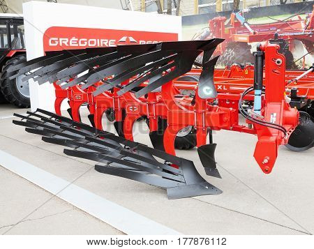 18.03.2017 Moldova Chisinev: New plow and agricultural implements at a farmer exhibition