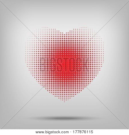 Dotted Heart Sign With Halftone On White Backround.
