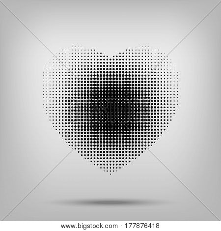 Dotted Black Heart Sign With Halftone On On White Backround.