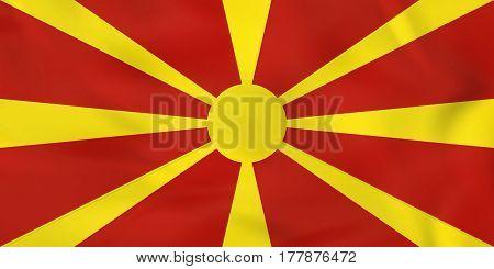 Macedonia Waving Flag. Macedonia National Flag Background Texture.