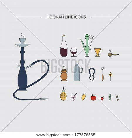 Hookah accessories line icons. Hookah lounge supplies.