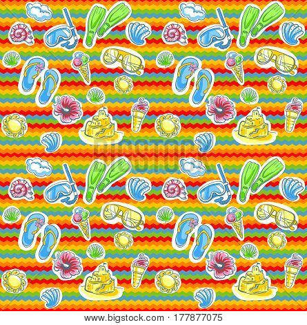 Summer seamless pattern for vacation. Vector background.