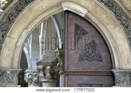 part of the old vintage wooden door brown stone
