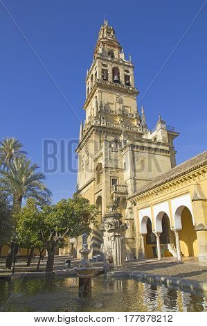 Courtyard And Belfry Of The Mosque-cathedral Of Cordoba. Andalusia Region, Spain.