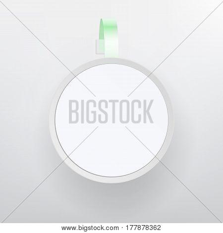Plastic Advertising Wobbler Vector. White Empty Round Paper Self Adhesive Supermarket Shelf Wobbler. Circle Blank Price Banner