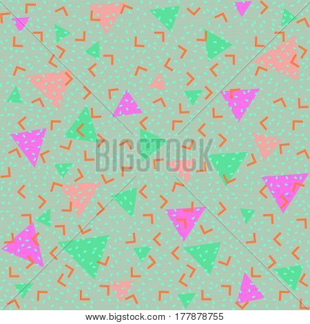 Memphis style seamless pattern. Colorful geometric trend. Bright abstract background for banner, ticket, leaflet, card, poster, annual report and so on.