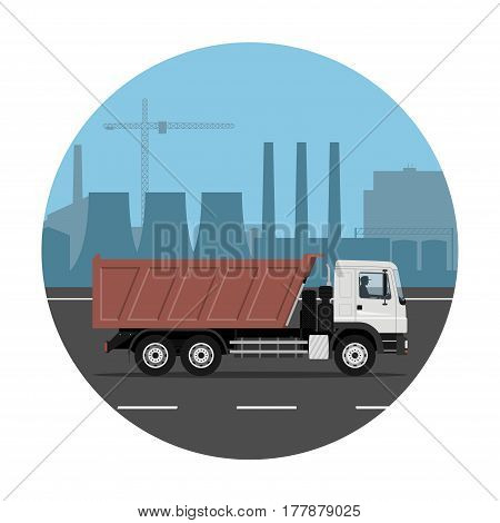 Dump truck on the road over industrial background. Vector illustration. Flat design without gradients.