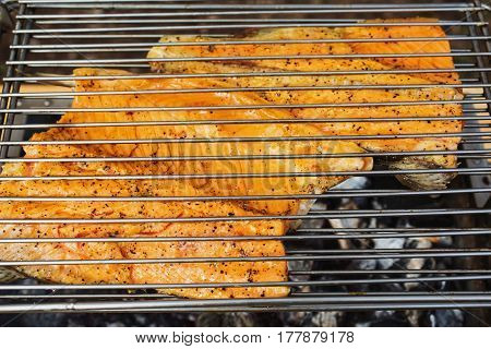 Bake salmon on the grill. Cooking outdoors. Tasty fish healthy food. Red fish on grill