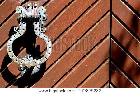 part of the old vintage wooden door brown