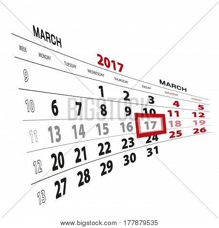17 March Highlighted On Calendar 2017. Week Starts From Monday.