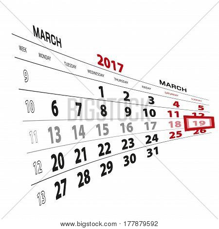 19 March Highlighted On Calendar 2017. Week Starts From Monday.