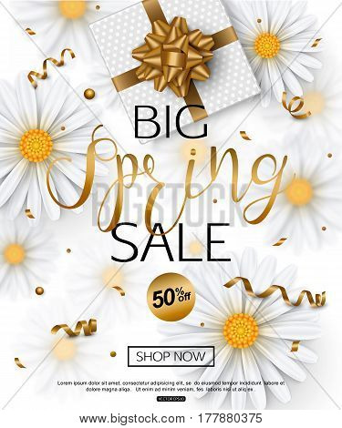 Spring sale banner with chamomile flower, realistic gift box, gold ribbon confetti. Vector illustration