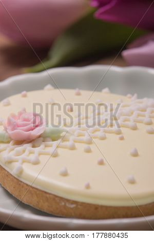 Easter Egg, Closeup, Rose Flower Cookie Gingerbread Edible Decoration