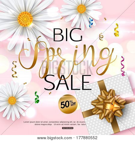 Pink spring sale banner with chamomile flower, realistic gift box, gold ribbon confetti. Vector illustration