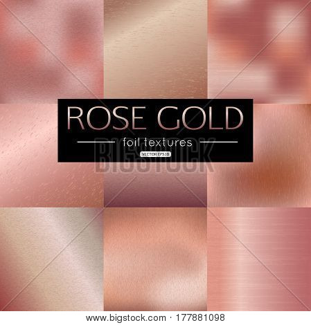 Set of rose gold vector gradients collection. Pink foil texture metallic for banner, background, frame design. Vector illustration.