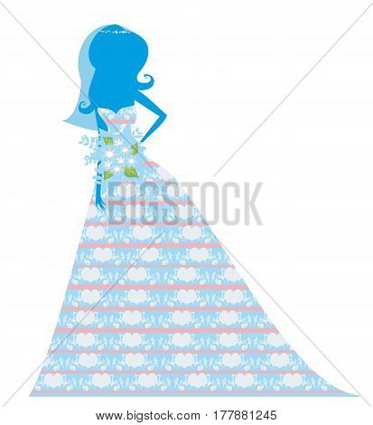 Card with beautiful Bride silhouette , vector illustration