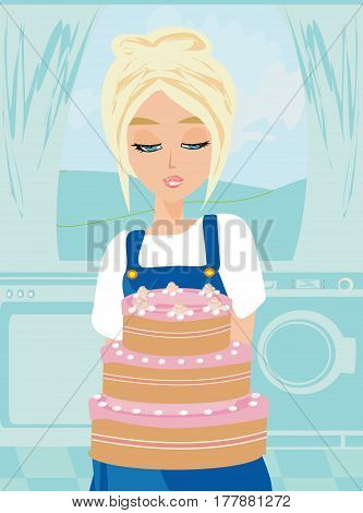 Housewife baked the cake in the kitchen , vector illustration