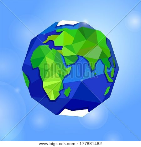 Globe or earth on blue sky background. Planet. Triangle polygonal style