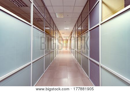 View of the corridor inside the office building.