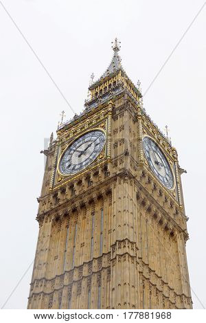 LONDON GREAT BRITAIN - FEB 27 2017: The clock Big Ben or the Great Bell in the Palace of Westminster. February 27 2017 in London Great Britain