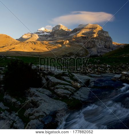 View of the massif of Monte Perdido in Ordesa National Park, Anisclo Canyon, Huesca, Aragon, Spain.