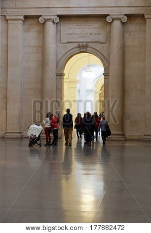 LONDON GREAT BRITAIN - FEB 27 2017: Interior of the museum Tate Britain. Some people waliking. February 27 2017 in London Great Britain