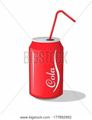 Cola drink in metal cans with red strips. Vector illustration symbol icon design sweet carbonated drink for your projects.