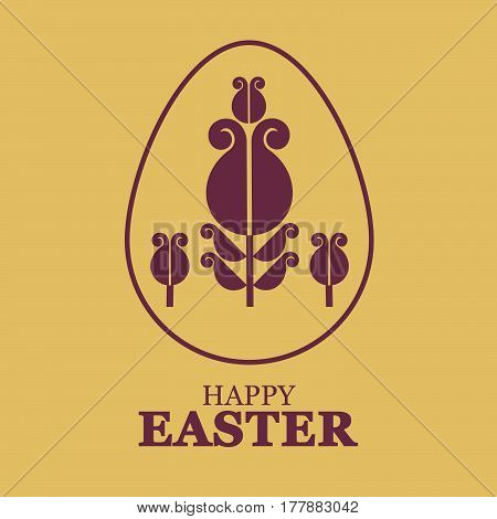 Easter egg with flower. Vector illustration, can be used for creating holiday greeting card, banner or poster