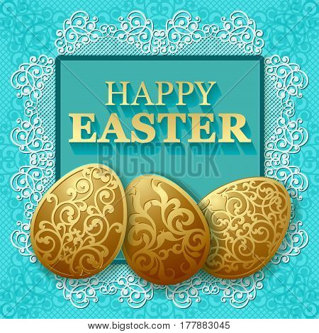 Golden Easter carved eggs. Vector illustration can be used for creating holiday greeting card banner or poster