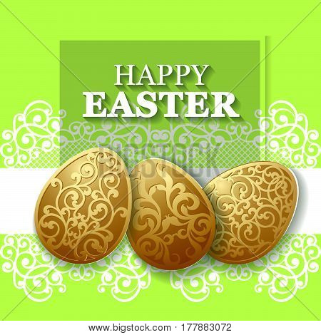 Golden Easter carved eggs. Vector illustration, can be used for creating holiday greeting card, banner or poster
