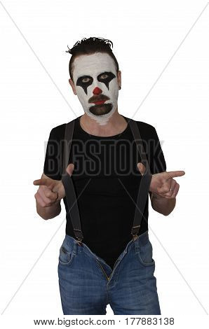 Portrait of clown isolated on white background