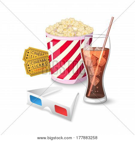 Collection icon symbols on watching movies in cinema in cartoon style Flat on a white background Vector Illustration. Elements of the film industry 3d glasses, popcorn, cola tickets for your projects.