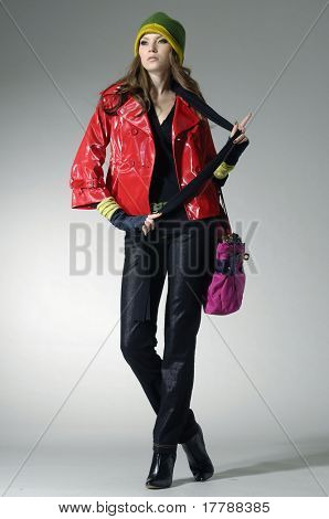 beautiful fashionable woman with handbag at light background
