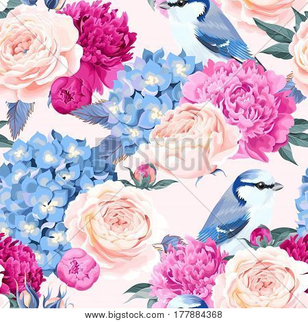 Vintage flowers and birds vector seamless background