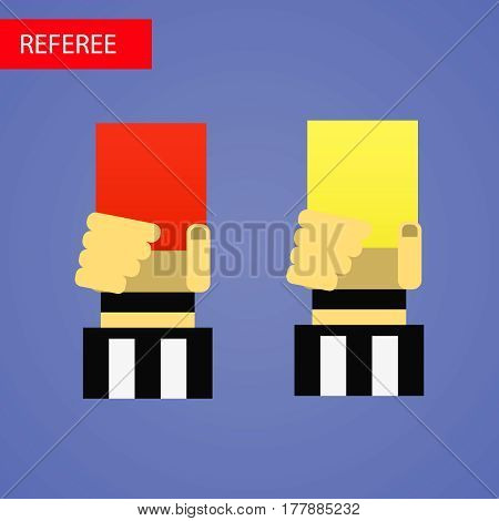 Referee hand with red and yellow cards