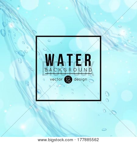 Blue water background drops wave vector illustration
